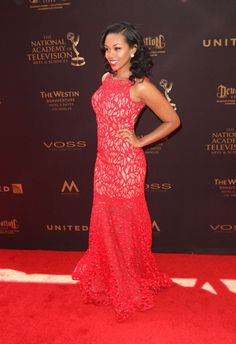 Actress Mishael Morgan [CBS daytime drama, The Young and The Restless] on the red carpet at the May 2016 Daytime Emmy Awards wearing Xcite! Style: 30620 #actress #MishaelMorgan #youngandtherestless #CBS #television #reddress #xcite #daytimeemmys www.xciteprom.com