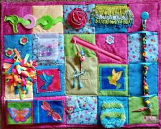 Colorful Hummingbirds on this Fidget Blanket Quilt for
