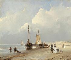 Andreas Schelfhout – Flaneren op het strand
