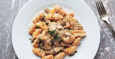 Vegan Sweet Potato Gnocchi with a Mushroom Thyme Cashew Cream Sauce