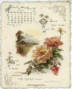 The Shakespeare Calendar for 1897, June (Tuck DB Ephemera)