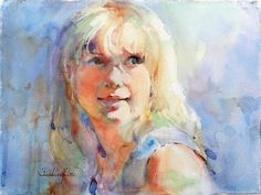 """Contemporary Painting - """"Her Smile"""" (Original Art from Fealing Lin Watercolors)"""