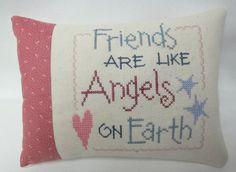 Friend Mini Pillow Cross Stitched Shelf Sitter - pinned by pin4etsy.com