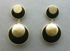 Vintage Onyx and 14K Gold Earrings  Fine by LoriBilodeauAntiques
