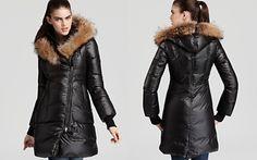 Mackage Liz Long Down Coat with Fur Trim