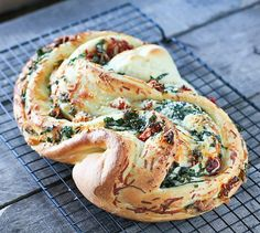 Roasted Garlic, Tomato, & Basil Filled Pane Bianco - FoodBabbles.com #bread