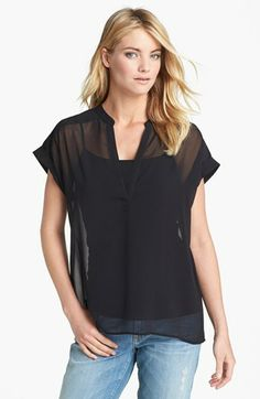 Halogen® Split Neck Short Sleeve Blouse - Nordstrom