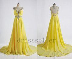 Long Beaded Chiffon Yellow Prom Dress Sexy Formal Evening Dress Elegant Party Gown Wedding Party Dresses 2013 Formal Evening Gown on Etsy, $138.00