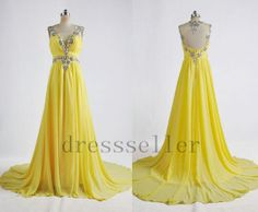 Long Beaded Chiffon Yellow Prom Dress Sexy Formal Evening Dress Elegant Party Gown Wedding Party Dresses 2013 Formal Evening Gown on Etsy, $138.00