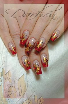 Nail art from the NAILS Magazine Nail Art Gallery, mixed media, floral, Red Nail Art, Red Nails, Hair And Nails, Red Manicure, Fancy Nails, Cute Nails, Pretty Nails, Fabulous Nails, Gorgeous Nails