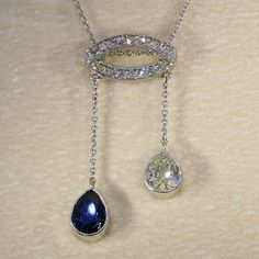Stunning Antique Gold and Platinum Sapphire and Diamond Necklace, French c. 1910
