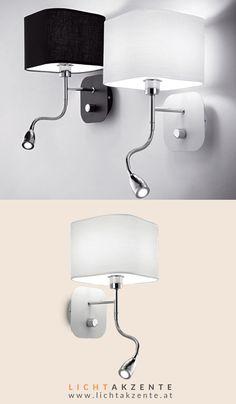 """Moderne Bett Wandleuchte mit LED Leselampe """"Holiday"""" online entdecken bei Lichtakzente. Die Bett Leseleuchte mit weißen Lampenschirm verbindet moderne LED Technik und zielgerichtetetes Leselicht. Ob Schlafzimmer oder Wohnzimmer, diese Nachttischlampe passt in beiden Räumen. Auch im Wohnzimmer passt dieses Leselicht über der Couch. #bett #leselampe wand #nachttischlampe wand #kopfteil #schlafzimmer #wohnzimmer #beleuchtung #lampe #lampen und leuchten #lichtakzente Home And Living, Wall Lights, Interior Design, Lighting, Couch, Home Decor, Lighting Ideas Bedroom, Dining Table Lighting, Nest Design"""