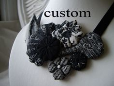 custom order for Nicole  black and white bib necklace by elsewares, $65.00