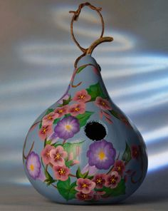 Blue morning glory gourd birdhouse decorative gourd by EdwardsFarm