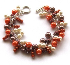 SALE Chocolate Orange Pearl Cluster Bracelet Brown by beadingshaz, £7.50