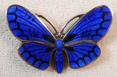 Vintage Sterling & Blue Enamel Butterfly Brooch - Great Detail & High Quality