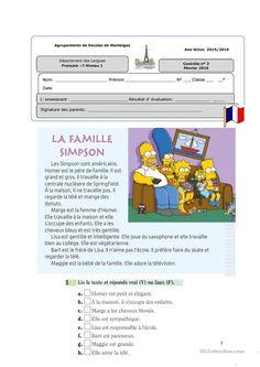 Contrôle niveau 1 « La famille» fiche d'exercices - Fiches pédagogiques gratuites FLE