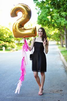 Celebrate with Brooke du jour | gold number balloon with pink tassels via www.stephanieshivesstudio.com