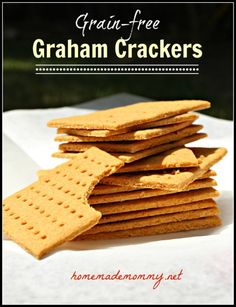 Graham crackers I really wanted to make smores with my daughter this summer and so I needed a good grain-free graham cracker recipe. I am not a huge fan of almond flour so I . Gluten Free Sweets, Paleo Sweets, Gluten Free Baking, Gluten Free Recipes, Graham Cracker Recipes, Homemade Graham Crackers, Gluten Free Graham Crackers, Homemade Marshmallows, Paleo Dessert