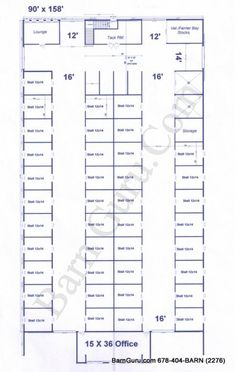 Very Large Stall Horse Barn With Tack and Feed. Horse Barn Plans for sale. Large selection of Horse Barn Plans For Sale. Barn Stalls, Horse Stalls, Barn Layout, Horse Farm Layout, Minecraft Horse Stables, Horse Barn Designs, Cattle Barn, Horse Barn Plans, Dream Barn