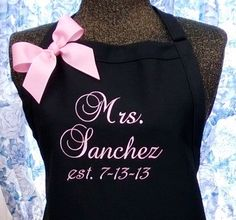 Personalized Apron Unique Wedding Gift Name or Initials
