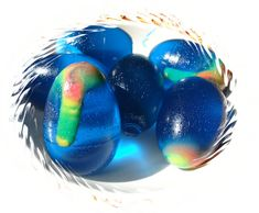 Alien Eggs made from jello - could be a good fine motor activity for kids to help fill the molds using a funnel