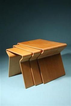 Nesting Tables  Designed by Grete Jalk for Poul Jeppesen, Denmark. 1950's.