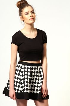 Classic and simple, do you love monochrome? #boohoostyle http://www.boohoo.com/restofworld/clothing/skirts/icat/skirts/new-in/louisa-harlequin-skater-skirt/invt/azz53304#
