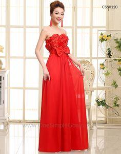 Strapless Red Chiffon ROM Dress Dinner Dress 2604e928b9f7