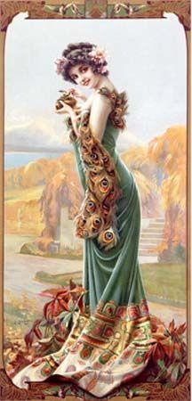 Gaspar Camps Peacock Woman Poster