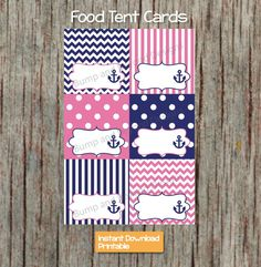 Food Tent Cards Nautical Anchor Navy Blue and Hot Pink by BumpAndBeyondDesigns, $3.00