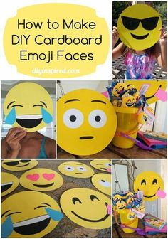 Make your own cardboard emojis as party decorations or masks