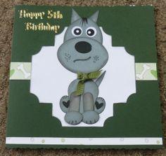Punch Art - Stampin up owl punch - handmade birthday card - Dog, spellbinders