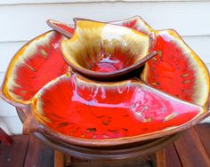 california pottery california original lazy susan cal original mid century modern chip and dip set