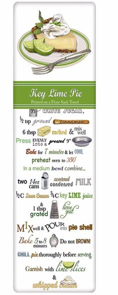 Tart Key Lime Pie Recipe 100% Cotton Flour Sack Dish Towel Tea Towel