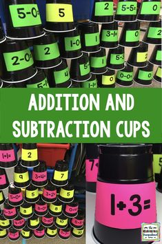 These addition and subtraction cups are a great way to engage students in solving problems. Teaching Addition, Math Addition, Addition And Subtraction, Addition Games, Kindergarten Smorgasboard, Kindergarten Math Games, Math Classroom, Maths Eyfs, Classroom Ideas