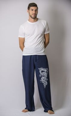 The Dragon Men's Thai Yoga Pants in Navy – Harem Pants