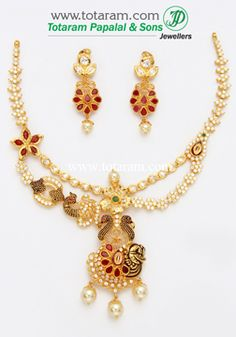 22K Gold 'Peacock' Necklace & Earrings Set With Ruby - GS2519 - Indian Jewelry from Totaram Jewelers