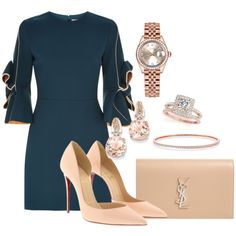 >>>Cheap Sale OFF! >>>Visit>> A fashion look from June 2017 by tinyblueorchid featuring Roksanda Christian Louboutin Yves Saint Laurent Rolex Allurez and BillyTheTree Classy Outfits, Stylish Outfits, Outfit Combinations, Mode Style, Business Fashion, Swagg, Ideias Fashion, Autumn Fashion, Fashion Dresses
