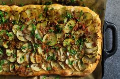 Deathly Scalloped Potato Pizza- I think I'd probably just make scalloped potatoes with this mixture, it sounds amazing