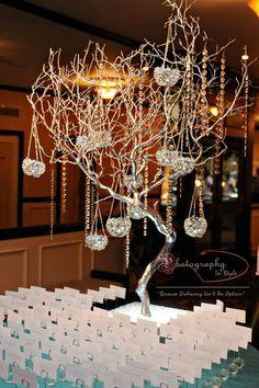 Wedding place card tree with hanging candle globes Wedding Place Cards, Our Wedding Day, Wedding Bells, Wedding Fun, Wedding Seating, Wedding Reception, Luxury Wedding, Destination Wedding, Flower Decorations