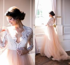Vintage Champagne And White Lace Wedding Dresses Long Sleeves 2016 V Neck Sweep Train Bride Bridal Gowns Summer Beach Formal Wear Cheap Halter Neck Wedding Dresses Pink Wedding Gowns From Alexiabridal, $114.58| Dhgate.Com