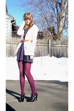 Converse Vintage, Purple Tights, Wearing Purple, Target Dresses, Tights Outfit, Latest Fashion Trends, What To Wear, Mini Skirts, Stockings
