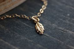 Tiny Leaf Gold necklace  Choose Your Length bridal bridesmaid jewelry gifts