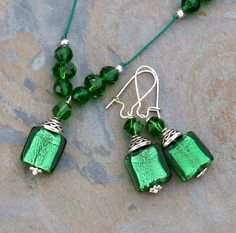 Green Celtic Necklace and Earring Set