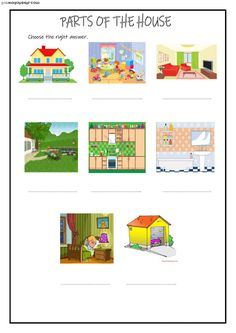 Parts of the house Interactive worksheet Worksheets For Grade 3, English Worksheets For Kids, English Class, English Lessons, 1st Grade Science, School Subjects, Esl, House, At Home Workouts
