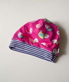 Süße Mütze für Babys und Kinder mit Vögelchen und Streifen, Wendemütze, innen: Punkte Rot Orange