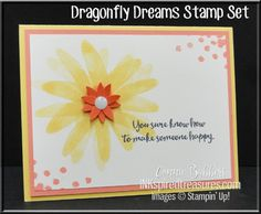 I just thought the wings of the dragonfly would make a terrific flower if placed going in a circle! What do you think?   Here are the details: The base is 5-1/2 x 8-1/2 So Saffron card…