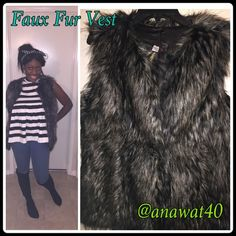 Faux Fur Vest Size Small This classic fashion go to Faux Fur Vest is great for layering this sleek long-line vest and is everything for your fashion wardrobe and what we love about getting dressed for cold days. Fully lined. 100% Polyester JW Jackets & Coats Vests