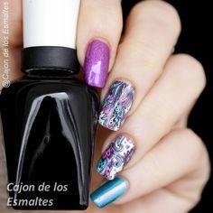 Tatuajes coloridos para uñas paisley - Nail art water decal or tattoo